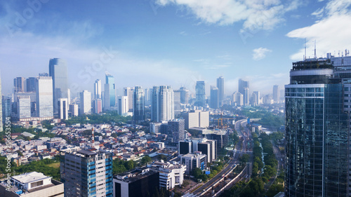 Poster Los Angeles Beautiful Jakarta city under clear sky