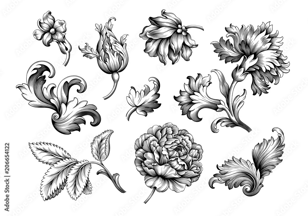 Fototapeta Rose peony flower vintage Baroque Victorian frame border floral ornament leaf scroll engraved retro pattern decorative design tattoo black and white filigree calligraphic vector set