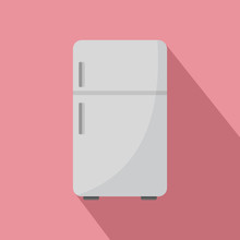 Retro Fridge Icon. Flat Illust...