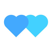 Blue Hearts Isolated On White Background. Heart Icon In Flat Style. Symbol Of Love. Vector Illustration.