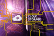 Cloud data storage concept on server room background.?