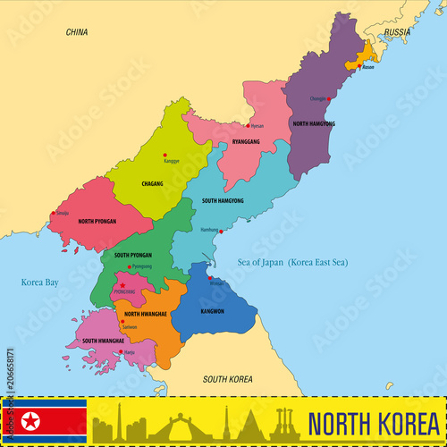 North Korea map with regions and their capitals – kaufen Sie diese ...
