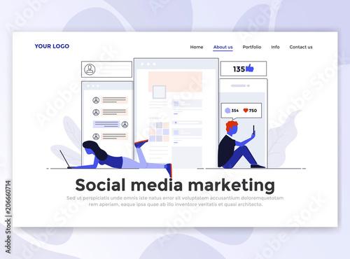 Flat Modern design of Landing page template - Social Media