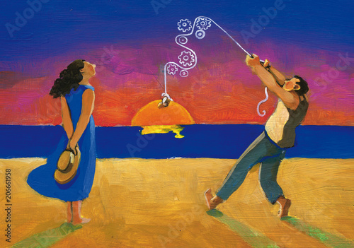romantic surreal light summer woman and man in love evening concept of relationship in love