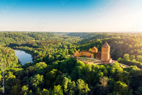 Poster Kasteel aerial view to the Turaida castle and river Gauja at sunset, Latvia