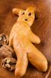 Brot Krampus gebacken mit Rosinen verziert