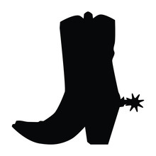 A Black And White Silhouette Of A Cowboy Boot