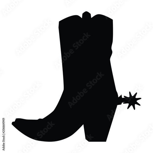 Fotografia, Obraz  A black and white silhouette of a cowboy boot