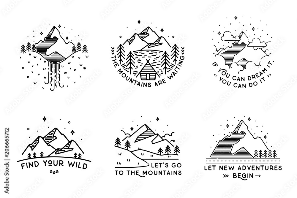 Fototapety, obrazy: Travel set with emblems. Summer vector illustrations. Design
