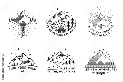 Travel set with emblems. Summer vector illustrations. Design Fototapete