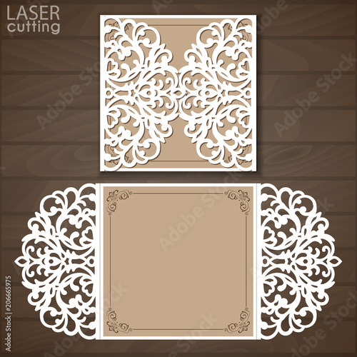 Laser Cut Wedding Invitation Template Vector Cutout Paper Gate Fold Card For Cutting Or Die Mockup