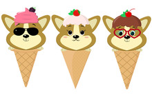 A Set Of Three Cute Corgi Puppies In The Form Of Ice Cream. Sits In A Waffle Cone On His Head Glaze And Ice Cream With A Berry, In The Style Of A Cartoon. Flat, Vector.