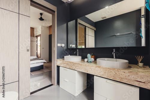 Bathroom Interior In Luxury Modern Villa Grey Colours Open