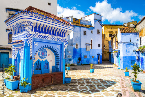 Spoed Fotobehang Afrika Beautiful view of the square in the blue city of Chefchaouen. Location: Chefchaouen, Morocco, Africa. Artistic picture. Beauty world