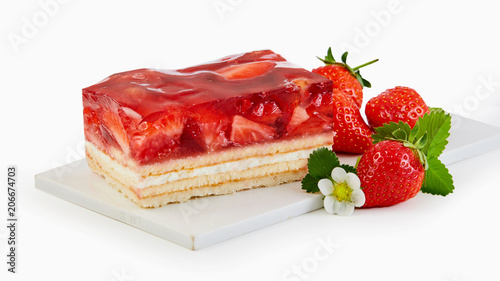 Cuadros en Lienzo Slice of fresh strawberry tart with ripe fruit