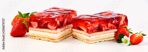 Fényképezés  Two slices of strawberry and cream layer cake
