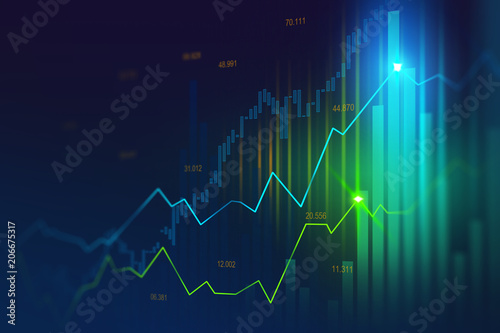 Fotografía  Stock market or forex trading graph in graphic concept suitable for financial investment or Economic trends business idea and all art work design