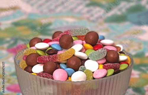 Foto op Plexiglas Snoepjes bowl with multi colored sweets