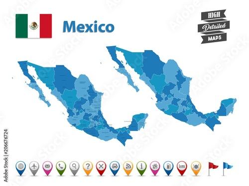 Mexico - High Detailed Map With GPS Icon Collection - Buy ... on
