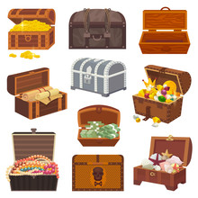 Chest Vector Treasure Box With...
