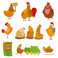 Chicken Vector Cartoon Chick C...