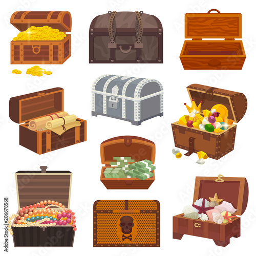 Fotografie, Obraz Chest vector treasure box with gold money wealth or wooden pirate chests with go