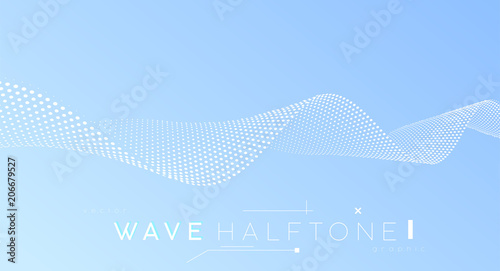 Poster Abstract wave Abstract wave – business background. Halftone dots surface – minimal futuristic design.