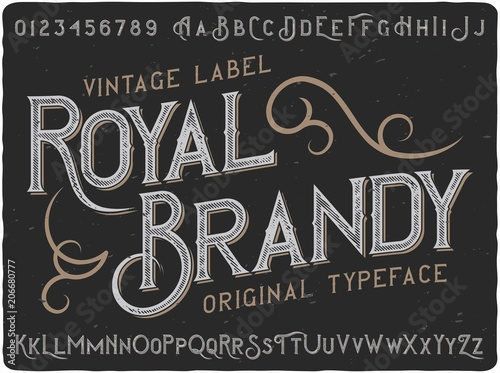 Cuadros en Lienzo Vintage label typeface named Royal Brandy
