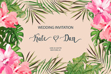 Wedding Card. Invitation Template For Save The Date. Floral Background. Vector Illustration. Watercolor Style