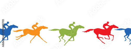 Photo Horse racing silhouette seamless border