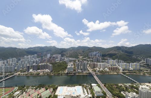 Aerial panarama view on Shatin, Tai Wan, Shing Mun River in Hong Kong Poster