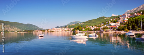Printed kitchen splashbacks City on the water Picturesque sea view of Boka Kotorska, Montenegro, Herzeg Novi old town fortress. Shoot wide angle, sunset