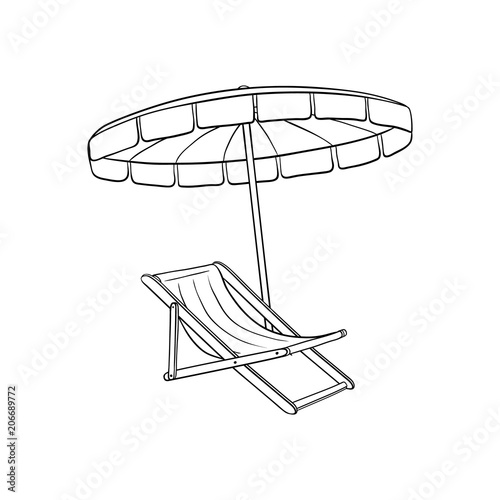 Fotografia, Obraz Pool, beach lounger with sun umbrella, parasol sketch icon