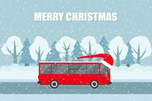 Vector Christmas  Bus On The B...