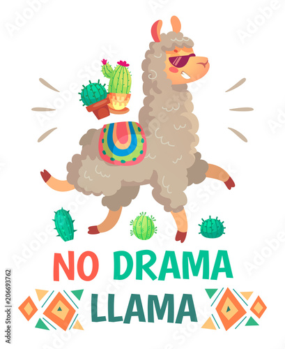 Fotomural  Motivation lettering with No drama llama