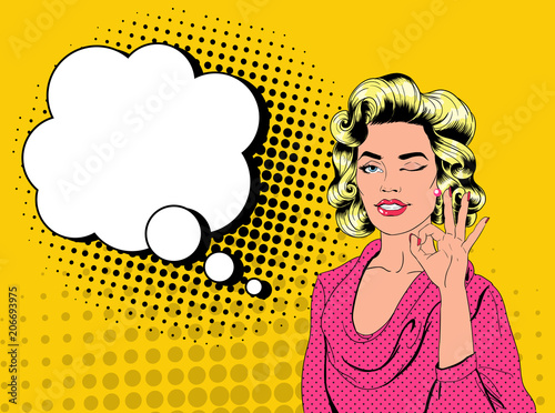 Pop Art Pretty Blonde Woman Winking and Showing Sign OK. Joyful Girl Vintage Poster with Comic Speech Bubble. Pin Up Advertising Placard Banner. Vector illustration