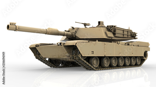 Military Tank isolated on white background Wallpaper Mural