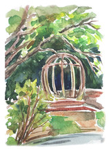 Landscape With A Gazebo, Expressive Watercolor Drawing, Sketch. View Of Neskuchny Garden In Moscow
