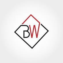 Initial Letter BW Logo Template Vector Design