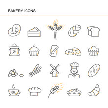 Isolated Black Outline Collection Icons Of Croissant, Bread, Cake, Ear Wheat, Chef, Mill, Cup, Cupcake, Pretzel, Sack Flour, Challah, Sheaf, Cap Cook, Rolling Pin, Doughnut. Set Of Line Bakery Icon.