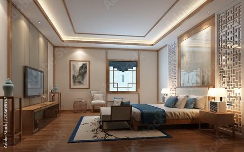 Foto  3d render of luxury hotel room