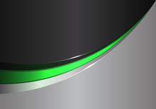 Abstract Green Line Curve On Black Gray Design Modern Futuristic Background Vector Illustration.