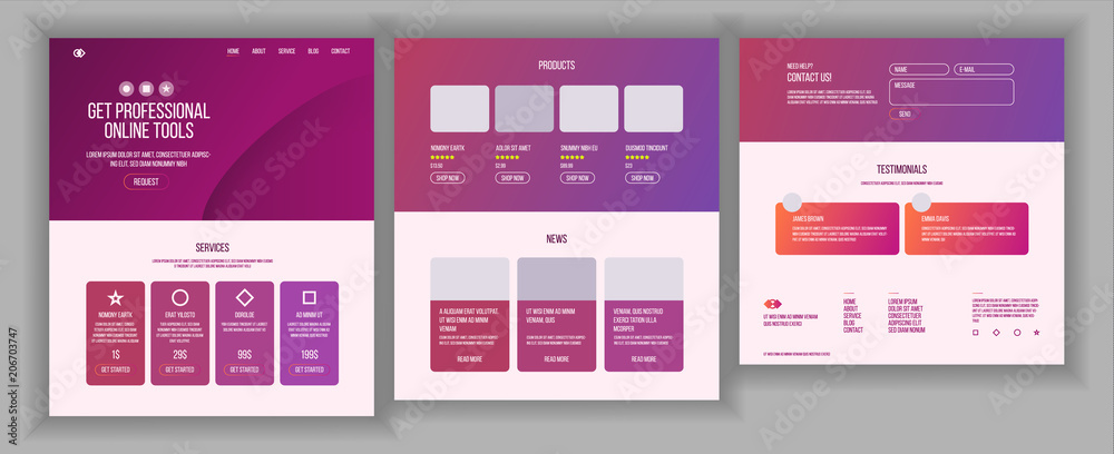 Fototapeta Web Page Design Vector. Website Business Style. Front End Site Scheme. Landing Template. Benefits Scheme. Interface Menu. Card Credit. Illustration