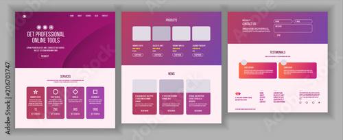 Fototapeta Web Page Design Vector. Website Business Style. Front End Site Scheme. Landing Template. Benefits Scheme. Interface Menu. Card Credit. Illustration obraz