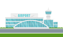 Vector Airport Building On Whi...