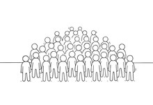 Sketch Of Many People Standing...