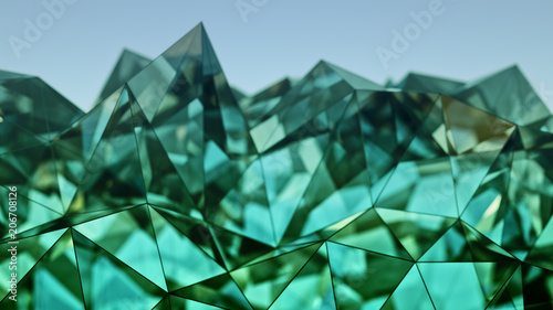 Stampa su Tela  Polygonal green glass shape 3D rendering with DOF