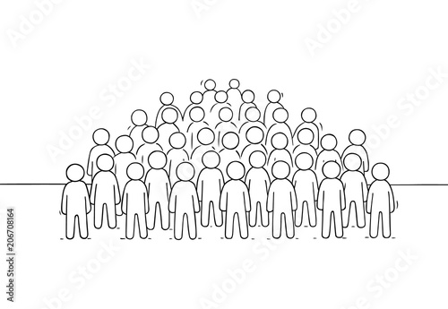 Sketch of many people standing together. - 206708164