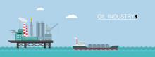 Vector Oil Platform With A Tanker.