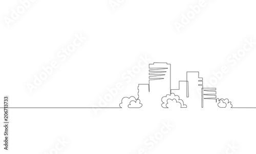 Obraz Single continuous line art city building construction. Architecture house urban apartment cityscape landscape concept design one sketch outline drawing vector illustration - fototapety do salonu